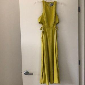 Green/Yellow Sleeveless Midi Dress w/Cut-Out Sz 4